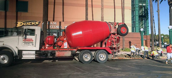 Ready mix concrete delivery and placement for commercial projects